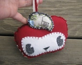 Upcycled Raggedy Apple stuffed rag doll or ornament