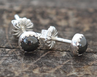 hematite and sterling silver tiny stud earrings