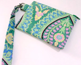 Wristlet Zipper Pouch Amy Butler Emerald Paisley
