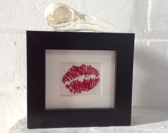Lipstick Traces Hand Embroidered Framed Wall Art