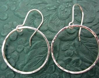 Large Argentium Sterling Silver Earrings  eternity hoops 16 gauge earrings Eco-Friendly Recycled Hammered 1.3mm Silver Hoops Artisan Made