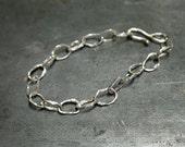 Handmade Hammered sterling silver link bracelet, charm bracelet, 7.5 inches, ladies