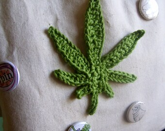 Crocheted Marijuana leaf 3 sizes S,M,L