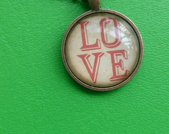 "Glass pendant necklace - ""LOVE"" - round- copper"