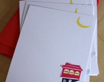 Pittsburgh Incline Stationery - Pittsburgh Note Cards - PIT Cards - Hand Printed Stationery - Set of 6