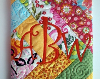 Custom Quilted Monogrammed Journal Cover - bright and fun fabrics - Choose your initial