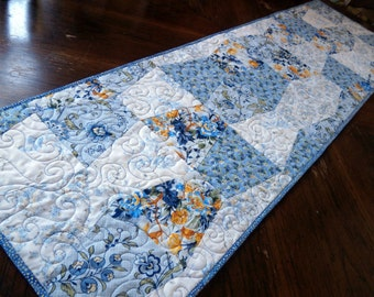 Blue and Yellow Quilted Table Runner - Scrappy Tumblers