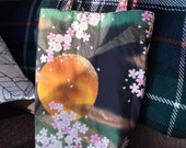 Tote Small - Yellow Moon with Cherry Blossoms and Walking Geisha Fabric - Reversible