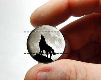 Glass Cabochon - Full Moon Howling Wolf - for Jewelry and Pendant Making