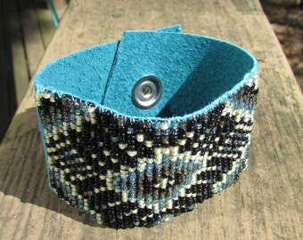 Woven Beaded Bracelet on Suede