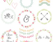 Wedding Clipart Wreath Clip Art Floral Clipart Flowers Clip Art Laurel Ribbon Clipart Rustic Clipart Shabby Chic