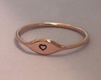Heart Stacking Ring in 14k Rose Gold- Tiny Heart Stacking Ring READY TO SHIP in size 6 - Valentine's Day Gift