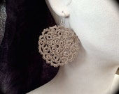 Tatted Lace Earrings - Medallions - Large Linen Disc Earrings