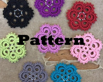 PDF Tatting Pattern -Swirl Flower Motif - Pendant - Earrings