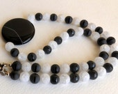 Onyx and Quartz Necklace with Sterling Silver Clasp, Smokeylady54