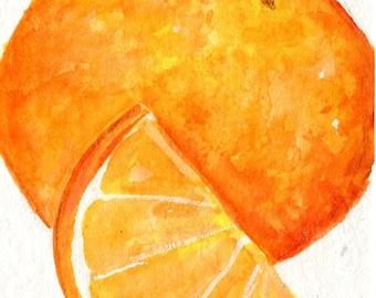 Oranges ACEO Original Watercolors Paintings , Citrus Fruit art card, orange and orange slice watercolor, kitchen art, kitchen decor