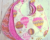 Baby Bibs for Baby Girl -  Chenille Triple Layer Design  -  Set of 3  - Pink Vintage Hot Air Balloons, Blown Away Pink Chevron & Pink Dots