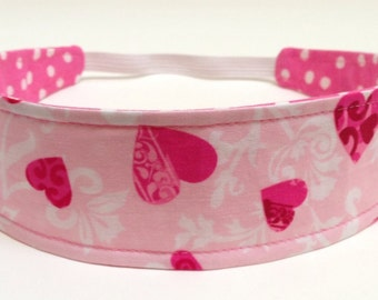 Valentines Headband, Girls Childs Childrens Headband -  Reversible Fabric Headband  -  VALENTINE FLORAL HEARTS