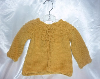 Sweet Superwash Merino Hand Knit 6-12 Month Baby Sweater in Gold Yellow Honey