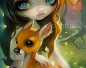 Brother and Sister fairy tale art print by Jasmine Becket-Griffith 8x10 deer fawn fairytale story