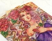 Postcard - Fairy Art, Peony Flower, Art Nouveau, Post Card, fantasy print, illustration, Meredith Dillman