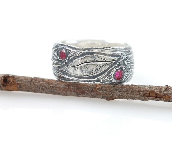 Tree Bark And Leaf Ring Sz   Ready To Ship