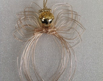 Gold Wire Angel with Beads Ornament Hand Formed with Pouch
