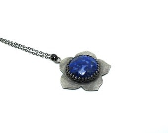 Blue Kikyo Pendant - Sterling Silver and Faceted Lapis