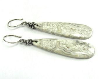 Agate, Sterling Silver Earrings