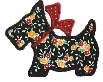 Scotty Dog Applique, Scotty Dog Embroidery, Puppy Applique, Machine Embroidery Design, Instant Download