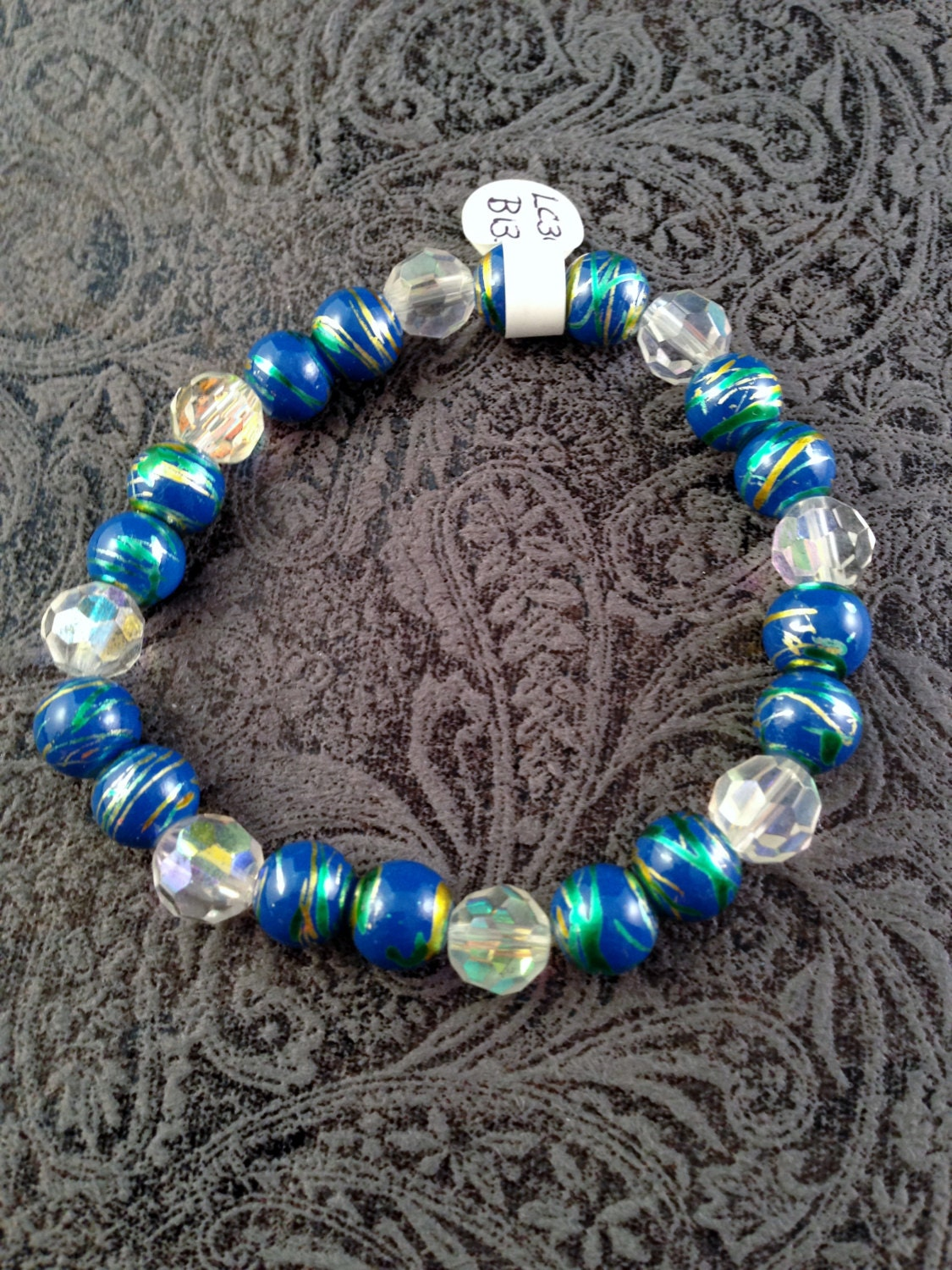 blue and clear iridescent bead stretch bracelet 7 by