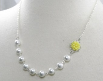 Yellow White and Silver Flower Bridesmaids Wedding Necklace