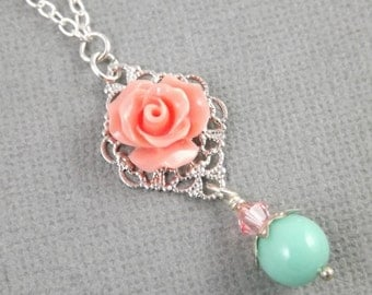 Simple Coral Silver and Aqua Wedding Flower Bridesmaids Necklace