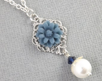 Simple Blue and White Silver Wedding Flower Bridesmaids Necklace