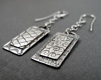 Rectangle Windows (long) - Sterling Silver Stamped Dangle Earrings - Layered - Asymmetrical Earring Pair
