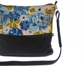 DUO BAG -  Vintage Fabric Crossbody Blue Floral
