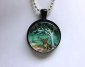 Fawn Chihuahua Tree of Life painting print Art Glass Pendant Necklace