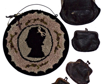 Punch Needle Pattern Girl Antique Silhouette Beaded Picture Wall Hanging Wood Plaque PDF Epattern Download Pattern Hickety PIckety