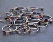 Delicate Stacking Rings- small brass cube or copper bowl