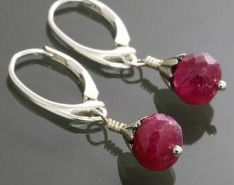 Genuine Ruby Earrings. Small Drop Earrings. Sterling Silver. Lever Back Ear Wires. Red Ruby. July Birthstone. s15e009