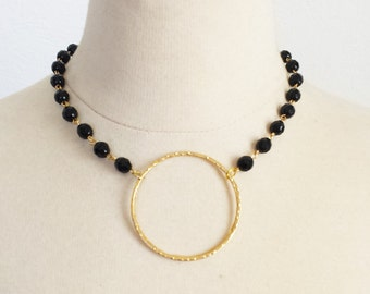 Gold Hoop beaded necklace, Gift for Mom, Circle of life necklace, Anniversary Gift for wife, Boho chic Crystal Statement Necklace