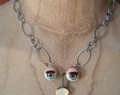Eye Popping Doll Eye and Vintage Eye Chart Necklace