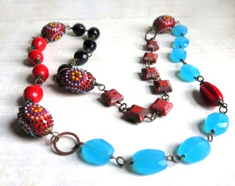 Chunky Red Black Blue Bead Necklace Textured Glass Bead Necklace Hot Colors Novelty Beads