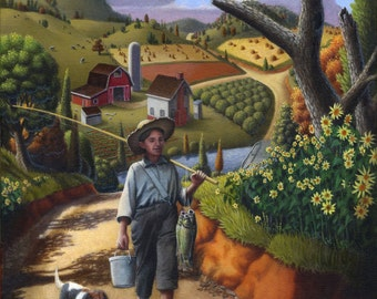 Original Oil Paitning, Country Boy and Dog, Farm Folk Art landscape, Rural Appalachian Americana