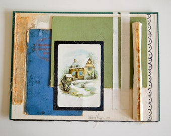 Original Mixed Media Collage . Altered Book . YART sale