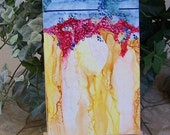 Alcohol ink abstract painting mounted on hardwood canvas 6 x 12