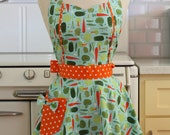 Retro Apron Vegetables on Blue MAGGIE
