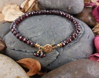 14kt Gold-Filled Garnet Gemstone Bracelet