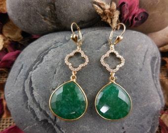 Gold-Filled Emerald Drop Briolette Earrings