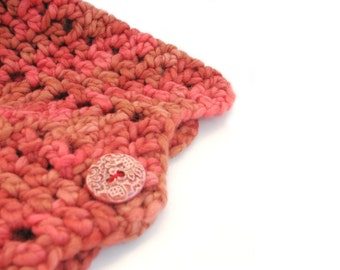 Red crochet cowl, zigzag neckwarmer, handdyed merino wool circle scarf in Chilli Roast ceramic button, uk womens fashion pull on scarf